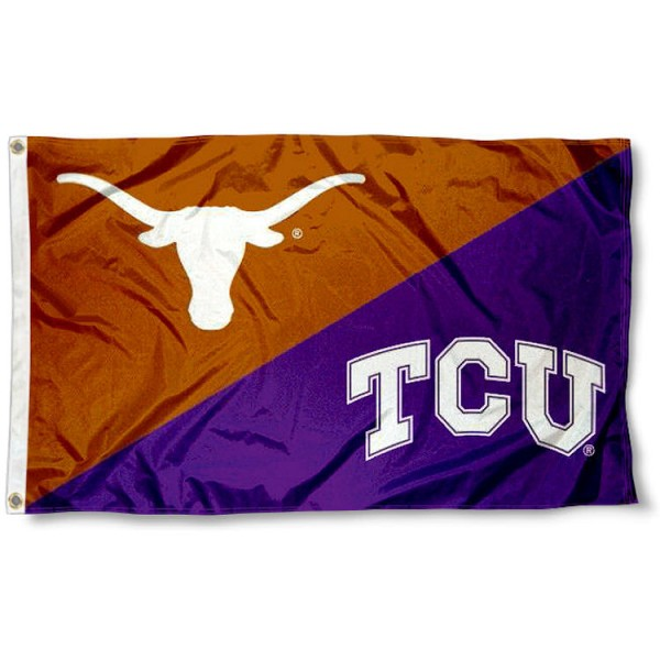 Longhorns vs. Horned Frogs House Divided 3x5 Flag sizes at 3x5 feet, is made of 100% polyester, has quadruple-stitched fly ends, and the university logos are screen printed into the Longhorns vs. Horned Frogs House Divided 3x5 Flag. The Longhorns vs. Horned Frogs House Divided 3x5 Flag is approved by the NCAA and the selected universities.
