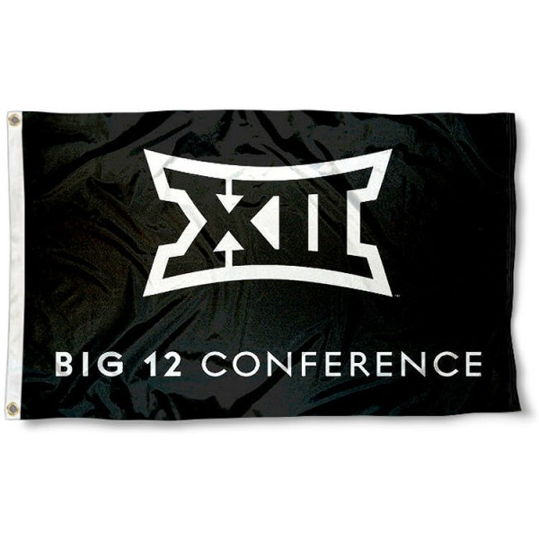Big XII Conference Flag measures 3'x5', is made of 100% poly, has quadruple stitched sewing, two metal grommets, and has double sided Big XII Conference Flag logos. Our Big XII Conference Flag is officially licensed by the Big 12 and the NCAA.