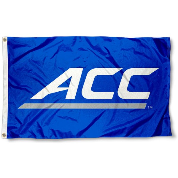 ACC Flag measures 3'x5', is made of 100% poly, has quadruple stitched sewing, two metal grommets, and has double sided ACC logos. Our ACC Flag is officially licensed by the Atlantic Coast Conference Conference and the NCAA.