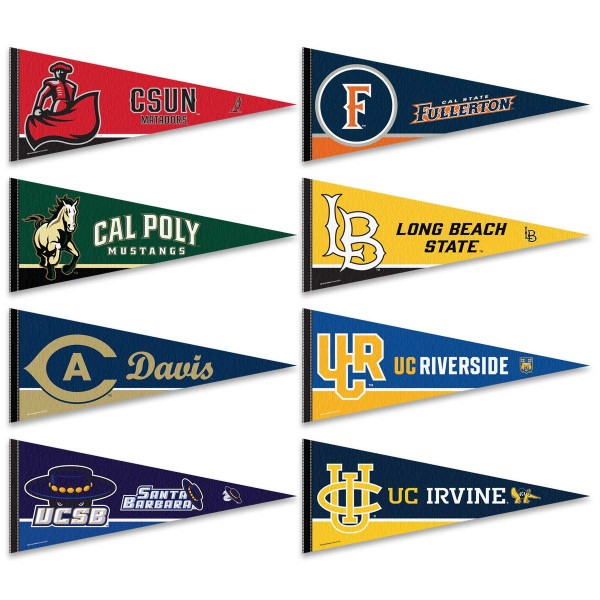 Big West Conference Pennants consists of Big West Conference school pennants and measure 12x30 inches. Eight Big West Conference teams are included and the Big West Conference Pennants is officially licensed by the NCAA and selected conference schools.
