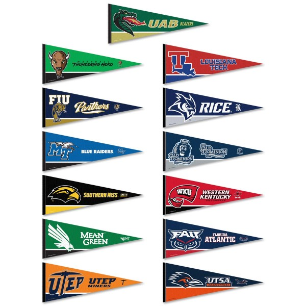 USA Conference Pennants consists of all Conference USA school pennants and measure 12x30 inches. All 13 USA Conference teams are included and the USA Conference Pennants is officially licensed by the NCAA and selected conference schools.