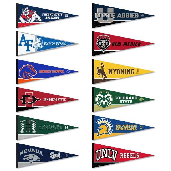 Mountain West Conference Pennants consists of all Mountain West Conference school pennants and measure 12x30 inches. All 12 Mountain West Conference teams are included and the Mountain West Conference Pennants is officially licensed by the NCAA and selected conference schools.