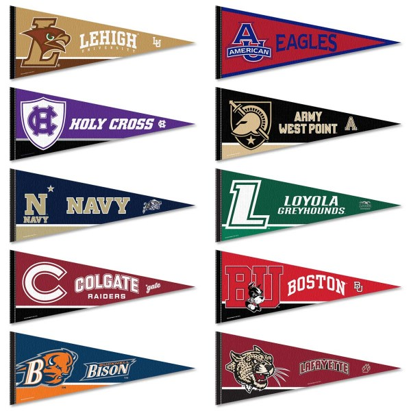 Patriot League Conference Pennants consists of all Patriot League school pennants and measure 12x30 inches. All 10 Patriot League Conference teams are included and the Patriot League Conference Pennants are officially licensed by the Patriot League and selected conference schools.