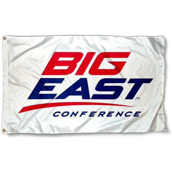 Big East Conference Flag measures 3'x5', is made of 100% poly, has quadruple stitched sewing, two metal grommets, and has double sided Big East Conference logos. Our Big East Conference Flag is officially licensed by the selected Conference and the NCAA.