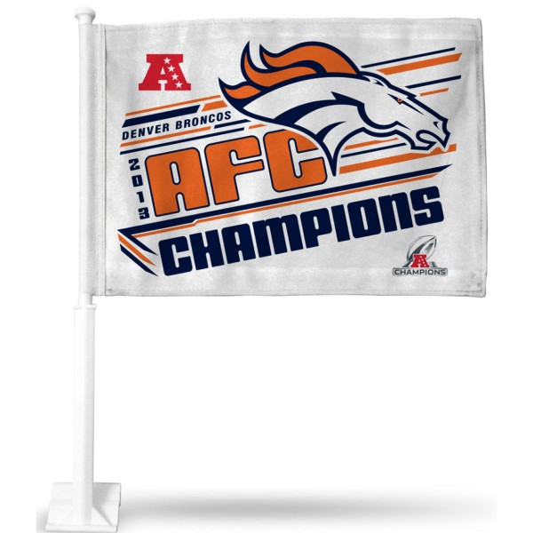 Broncos 2013 AFC Champions Car Flag is double sided printed with Broncos logos. Our Broncos 2013 AFC Champions Car Flags measure 12x15 inches, are made of 2 ply poly, and include an unbreakable mounting shaft. This car flag for the Broncos fan is a NFL officially licensed window car flag.