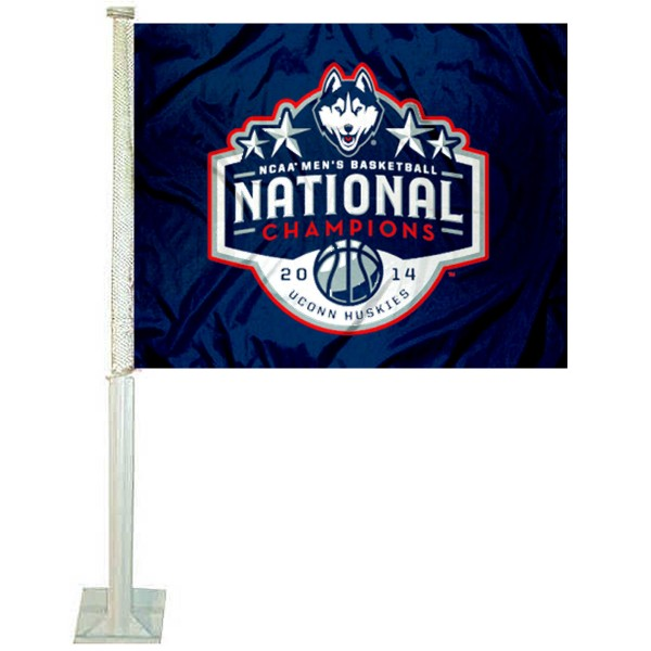 Our 2014 UCONN National Champions Car Flag has 2014 Basketball Championship logos, measures 12x15 inches, is 2-ply polyester, includes a durable pole and bracket. Our 2014 UCONN National Champions Car Flag is officially licensed by the NCAA.