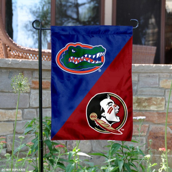Florida vs Florida State Split Logo Garden Flag is 13x18 inches in size, is made of polyester, is double-sided, and offers screen printed university school logos. The Florida vs Florida State Split Logo Garden Flag is approved by the NCAA and the selected universities.