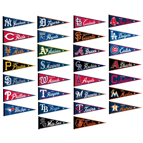 MLB Team Pennant Collection consist of all 30 MLB official team pennants. Our MLB Team Pennant Collection each measure 12x30 inches and are MLB genuine merchandise.
