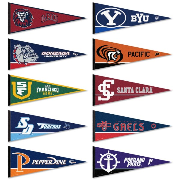 West Coast Conference Pennants all WCC members schools in a Set. Each measures 12x30 inches and all pennants are approved by the selected college or university.