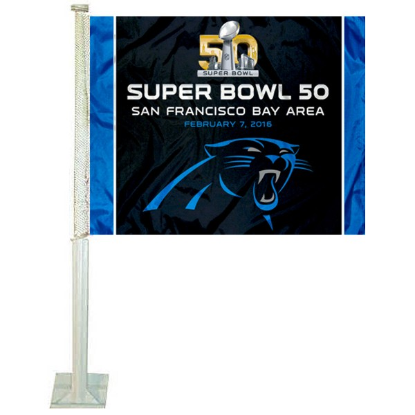 Carolina Panthers Super Bowl 50 Car Flag is double sided printed with Carolina Panthers logos. Our Super Bowl 50 Car Flags measure 12x15 inches, are made of 2 ply satin poly, and include an unbreakable mounting pole. This car flag for the Carolina Panthers fan is a NFL officially licensed window car flag.