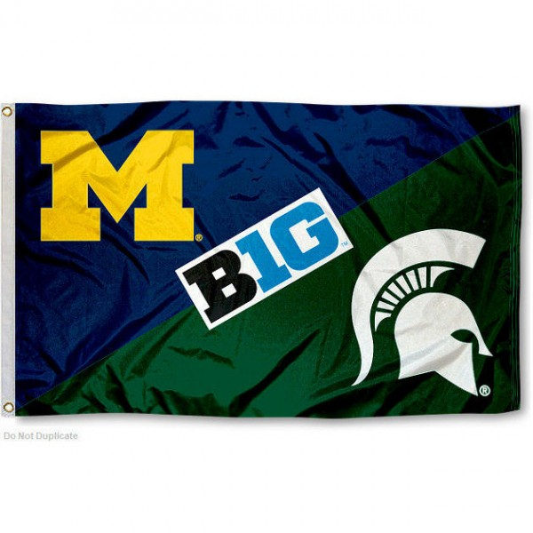 Michigan vs. Michigan State House Divided 3x5 Flag sizes at 3x5 feet, is made of 100% polyester, has quadruple-stitched fly ends, and the university logos are screen printed into the Michigan vs. Michigan State House Divided 3x5 Flag. The Michigan vs. Michigan State House Divided 3x5 Flag is approved by the NCAA and the selected universities.