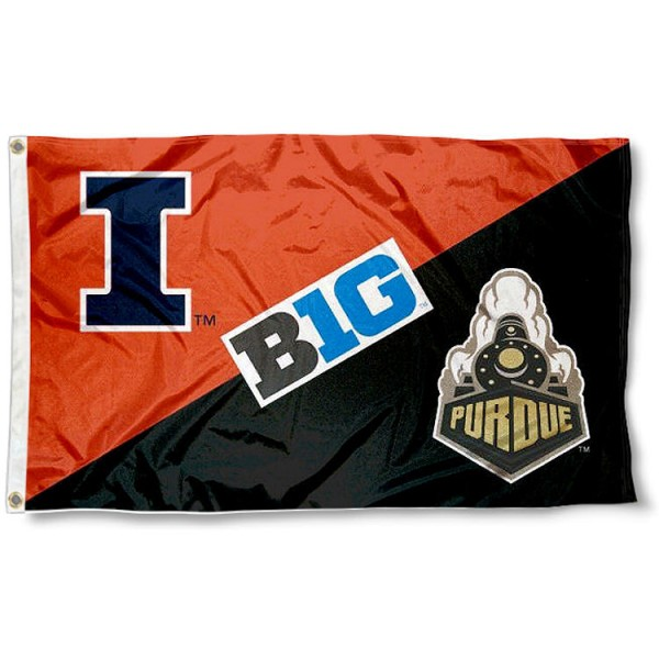 Illinois vs. Purdue House Divided 3x5 Flag sizes at 3x5 feet, is made of 100% polyester, has quadruple-stitched fly ends, and the university logos are screen printed into the Illinois vs. Purdue House Divided 3x5 Flag. The Illinois vs. Purdue House Divided 3x5 Flag is approved by the NCAA and the selected universities.