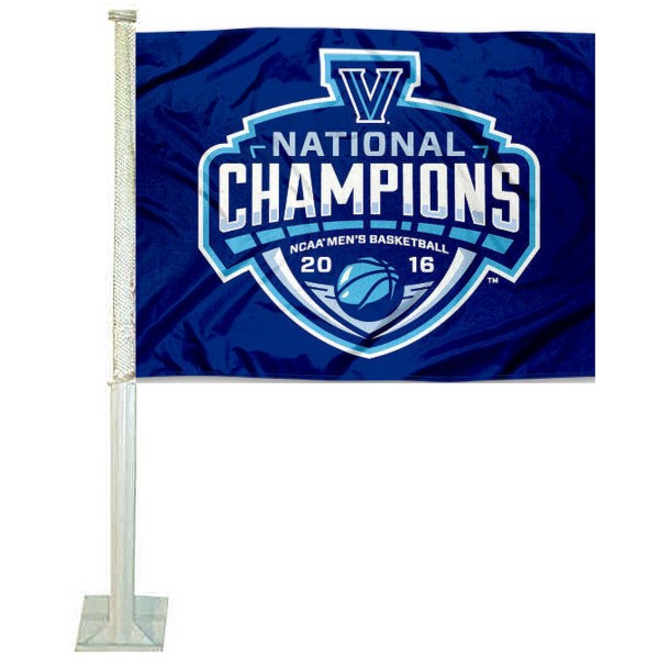 Villanova Wildcats National Champions Car Flag measures 12x15 inches, is constructed of sturdy 2 ply polyester, and has screen printed school logos which are readable and viewable correctly on both sides. Villanova Wildcats National Champions Car Flag is officially licensed by the NCAA and selected university.