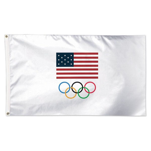 2016 USA Olympic Flag measures 3x5 feet, is made of polyester, has two metal grommets, and is viewable from both sides with the opposite side being a reverse image. This 2016 USA Olympic Flag is Officially Licensed by the selected Team USA.