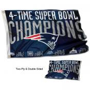 New England Patriots 4 Time Super Bowl Champions Flag