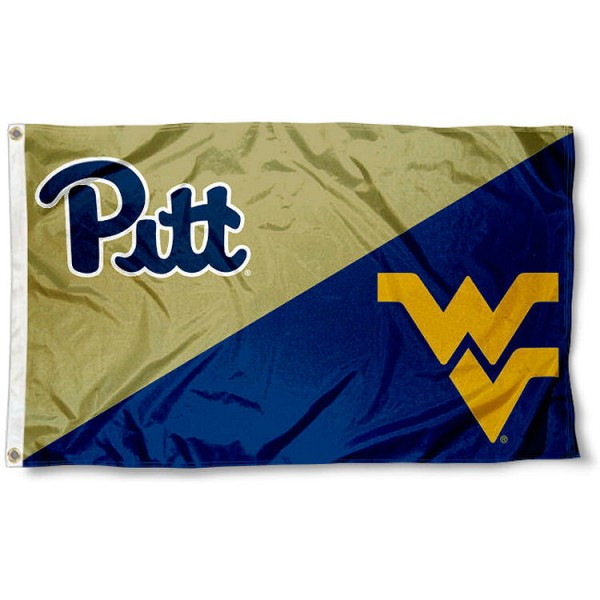 Pittsburgh vs. West Virginia House Divided 3x5 Flag sizes at 3x5 feet, is made of 100% polyester, has quadruple-stitched fly ends, and the university logos are screen printed into the Pittsburgh vs. West Virginia House Divided 3x5 Flag. The Pittsburgh vs. West Virginia House Divided 3x5 Flag is approved by the NCAA and the selected universities.