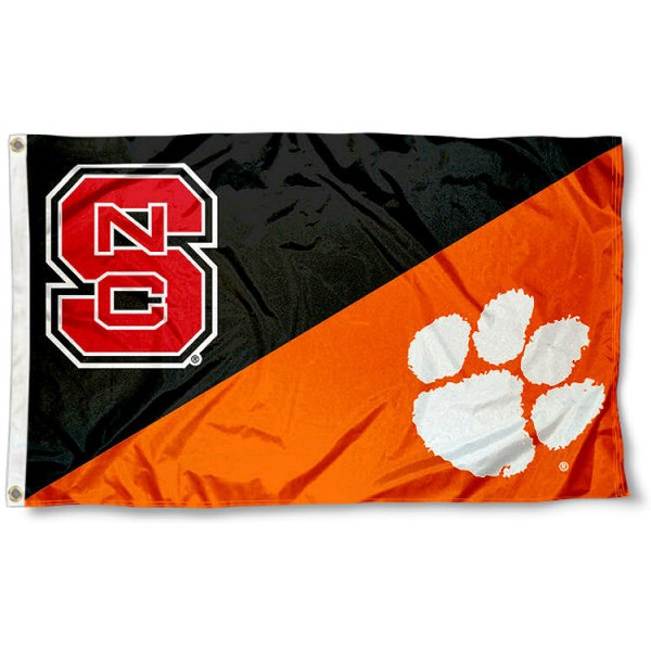 NC State vs. Clemson House Divided 3x5 Flag sizes at 3x5 feet, is made of 100% polyester, has quadruple-stitched fly ends, and the university logos are screen printed into the NC State vs. Clemson House Divided 3x5 Flag. The NC State vs. Clemson House Divided 3x5 Flag is approved by the NCAA and the selected universities.