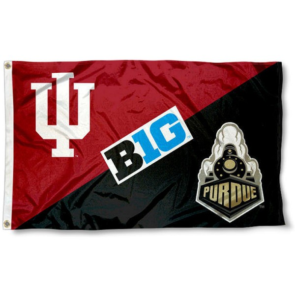 Indiana vs. Purdue House Divided 3x5 Flag sizes at 3x5 feet, is made of 100% polyester, has quadruple-stitched fly ends, and the university logos are screen printed into the Indiana vs. Purdue House Divided 3x5 Flag. The Indiana vs. Purdue House Divided 3x5 Flag is approved by the NCAA and the selected universities.