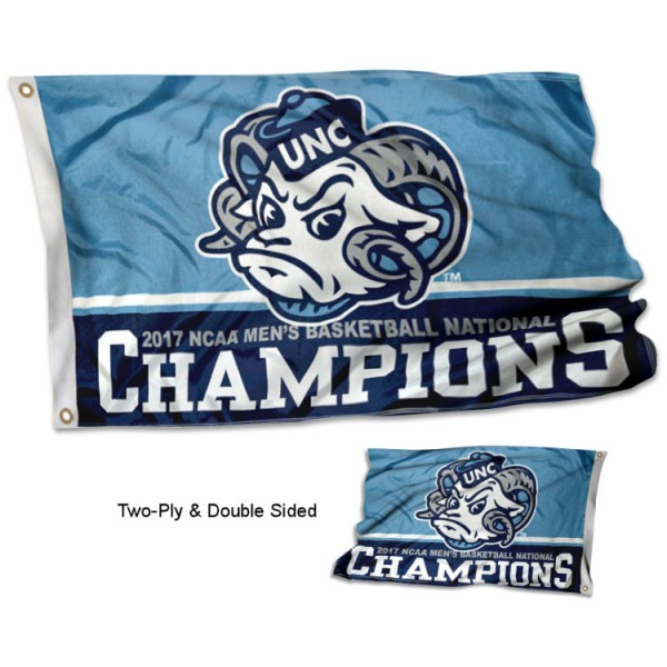 North Carolina Tar Heels National Champs Double Sided Flag measures 3'x5', is made of 2 layer 100% polyester, has quadruple stitched flyends for durability, and is readable correctly on both sides. Our North Carolina Tar Heels National Champs Double Sided Flag is officially licensed by the university, school, and the NCAA.