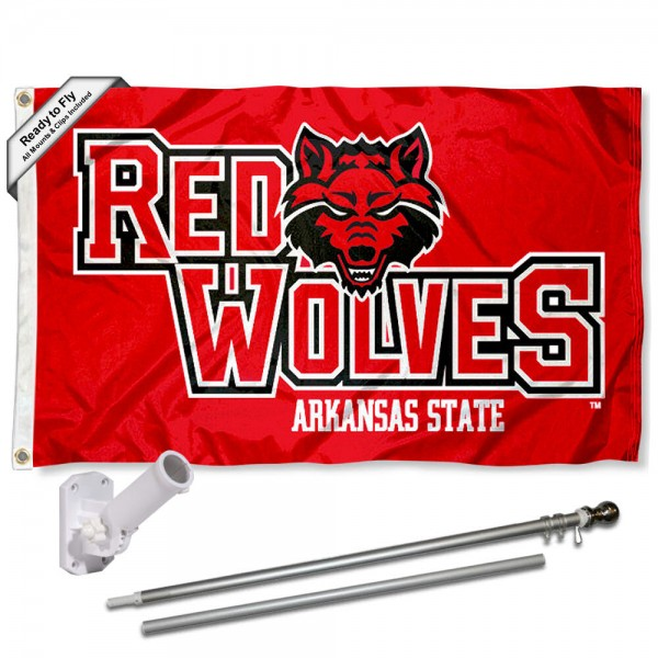 Our A State Red Wolves Flag Pole and Bracket Kit includes the flag as shown and the recommended flagpole and flag bracket. The flag is made of nylon, has quad-stitched flyends, and the NCAA Licensed team logos are double sided screen printed. The flagpole and bracket are made of rust proof aluminum and includes all hardware so this kit is ready to install and fly.