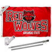 A State Red Wolves Flag Pole and Bracket Kit
