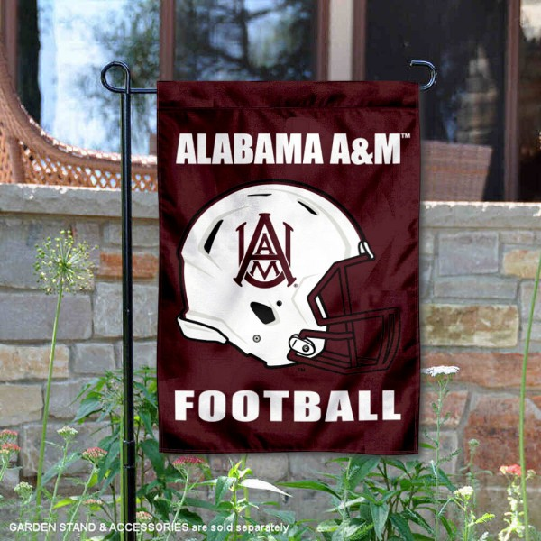 AAMU Bulldogs Helmet Yard Garden Flag is 13x18 inches in size, is made of 2-layer polyester with Liner, screen printed university athletic logos and lettering, and is readable and viewable correctly on both sides. Available same day shipping, our AAMU Bulldogs Helmet Yard Garden Flag is officially licensed and approved by the university and the NCAA.