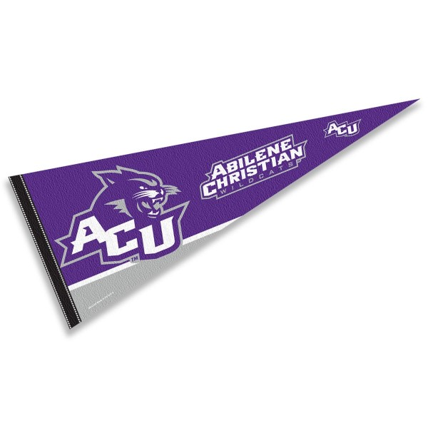 Abilene Christian Pennant consists of our full size sports pennant which measures 12x30 inches, is constructed of felt, is single sided imprinted, and offers a pennant sleeve for insertion of a pennant stick, if desired. This Abilene Christian Felt Pennant is officially licensed by the selected university and the NCAA.