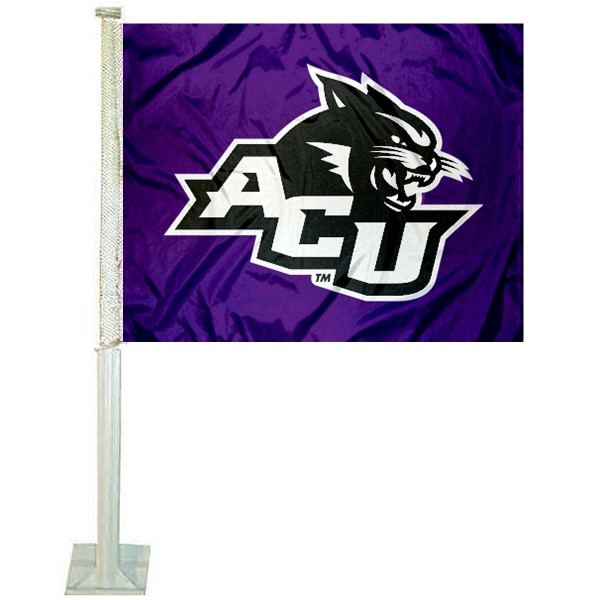 Abilene Christian Wildcats Car Flag measures 12x15 inches, is constructed of sturdy 2 ply polyester, and has screen printed school logos which are readable and viewable correctly on both sides. Abilene Christian Wildcats Car Flag is officially licensed by the NCAA and selected university.