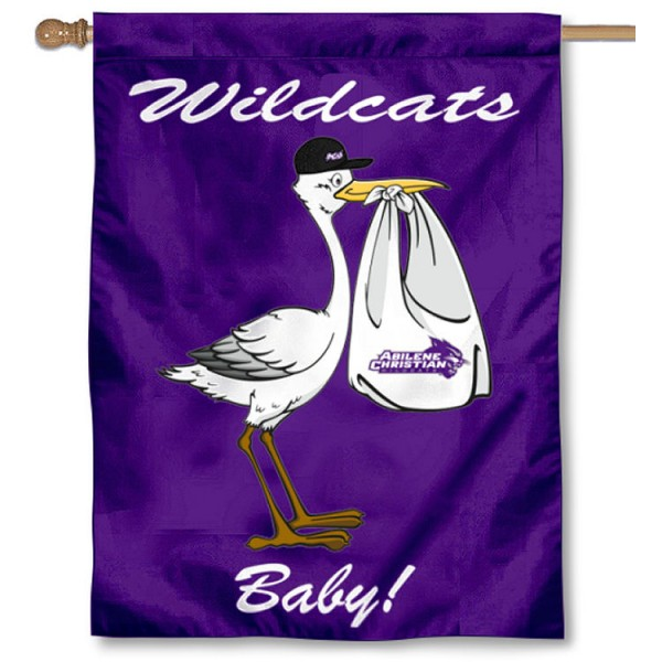 Abilene Christian Wildcats New Baby Flag measures 30x40 inches, is made of poly, has a top hanging sleeve, and offers dye sublimated Abilene Christian Wildcats logos. This Decorative Abilene Christian Wildcats New Baby House Flag is officially licensed by the NCAA.