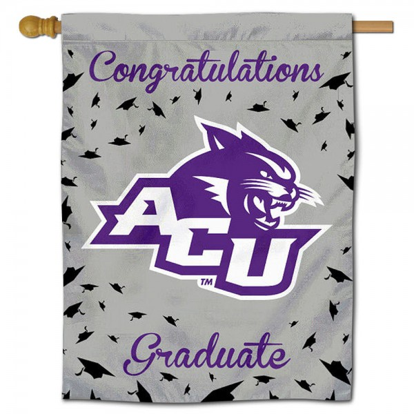 ACU Wildcats Congratulations Graduate Flag measures 30x40 inches, is made of poly, has a top hanging sleeve, and offers dye sublimated ACU Wildcats logos. This Decorative ACU Wildcats Congratulations Graduate House Flag is officially licensed by the NCAA.