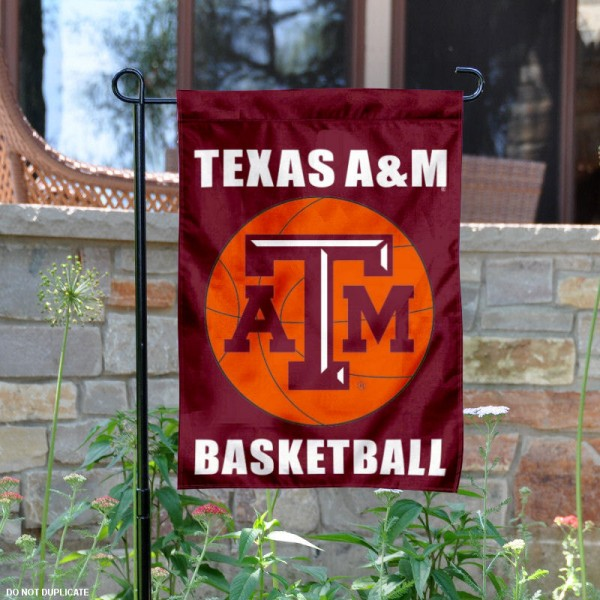 Aggies Basketball Garden Banner is 13x18 inches in size, is made of 2-layer polyester, screen printed Texas A&M University athletic logos and lettering. Available with Same Day Express Shipping, Our Aggies Basketball Garden Banner is officially licensed and approved by Texas A&M University and the NCAA.