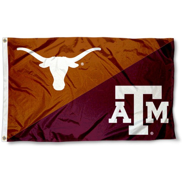 Aggies vs. Longhorns House Divided 3x5 Flag sizes at 3x5 feet, is made of 100% polyester, has quadruple-stitched fly ends, and the university logos are screen printed into the Aggies vs. Longhorns House Divided 3x5 Flag. The Aggies vs. Longhorns House Divided 3x5 Flag is approved by the NCAA and the selected universities.