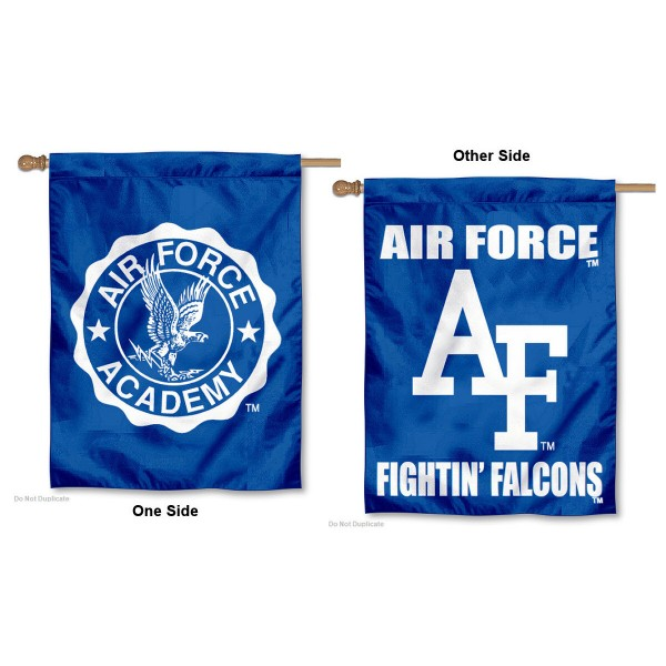 Air Force Double Sided House Flag is a vertical house flag which measures 30x40 inches, is made of 2 ply 100% polyester, offers screen printed NCAA team insignias, and has a top pole sleeve to hang vertically. Our Air Force Double Sided House Flag is officially licensed by the selected university and the NCAA.