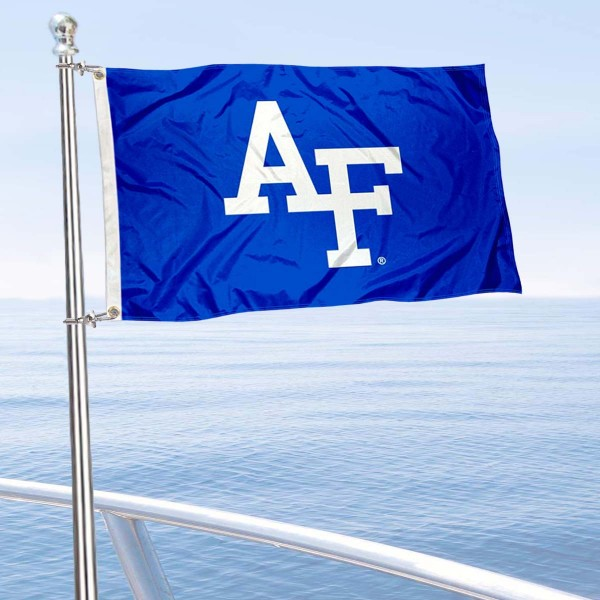 Air Force Falcons Boat and Mini Flag is 12x18 inches, polyester, offers quadruple stitched flyends for durability, has two metal grommets, and is double sided. Our mini flags for Air Force Falcons are licensed by the university and NCAA and can be used as a boat flag, motorcycle flag, golf cart flag, or ATV flag.