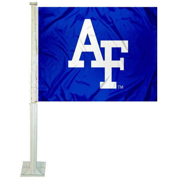 Air Force Falcons Car Window Flag measures 12x15 inches, is constructed of sturdy 2 ply polyester, and has screen printed school logos which are readable and viewable correctly on both sides. Air Force Falcons Car Window Flag is officially licensed by the NCAA and selected university.