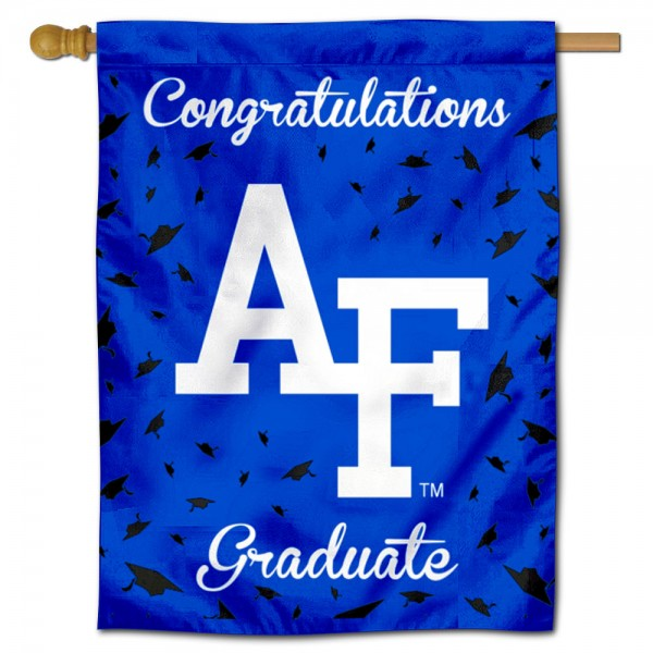 Air Force Falcons Congratulations Graduate Flag measures 30x40 inches, is made of poly, has a top hanging sleeve, and offers dye sublimated Air Force Falcons logos. This Decorative Air Force Falcons Congratulations Graduate House Flag is officially licensed by the NCAA.
