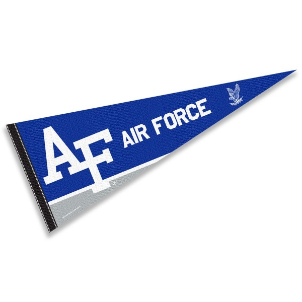 Air Force Falcons Decorations consists of our full size pennant which measures 12x30 inches, is constructed of felt, is single sided imprinted, and offers a pennant sleeve for insertion of a pennant stick, if desired. This Air Force Falcons Decorations is officially licensed by the selected university and the NCAA