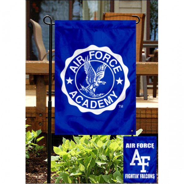 Air Force Falcons Double Sided Yard Flag is 13x18 inches in size, is made of 2-layer polyester, screen printed Air Force Falcons Double Sided athletic logos and lettering. Available with Same Day Express Shipping, Our Air Force Falcons Double Sided Yard Flag is officially licensed and approved by Air Force Falcons Double Sided and the NCAA.