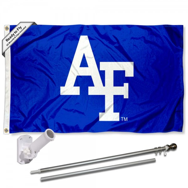 Our Air Force Falcons Flag Pole and Bracket Kit includes the flag as shown and the recommended flagpole and flag bracket. The flag is made of polyester, has quad-stitched flyends, and the NCAA Licensed team logos are double sided screen printed. The flagpole and bracket are made of rust proof aluminum and includes all hardware so this kit is ready to install and fly.