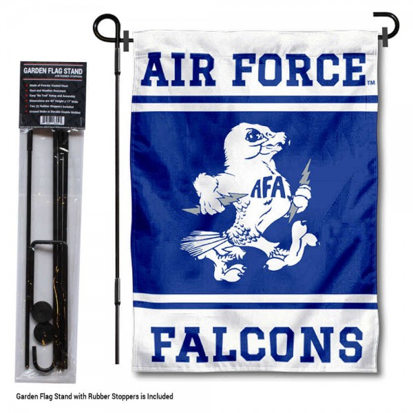 """Air Force Falcons Garden Flag and Pole Stand Holder kit includes our 13""""x18"""" garden banner which is made of 2 ply poly with liner and has screen printed licensed logos. Also, a 40""""x17"""" inch garden flag stand is included so your Air Force Falcons Garden Flag and Pole Stand Holder is ready to be displayed with no tools needed for setup. Fast Overnight Shipping is offered and the flag is Officially Licensed and Approved by the selected team."""