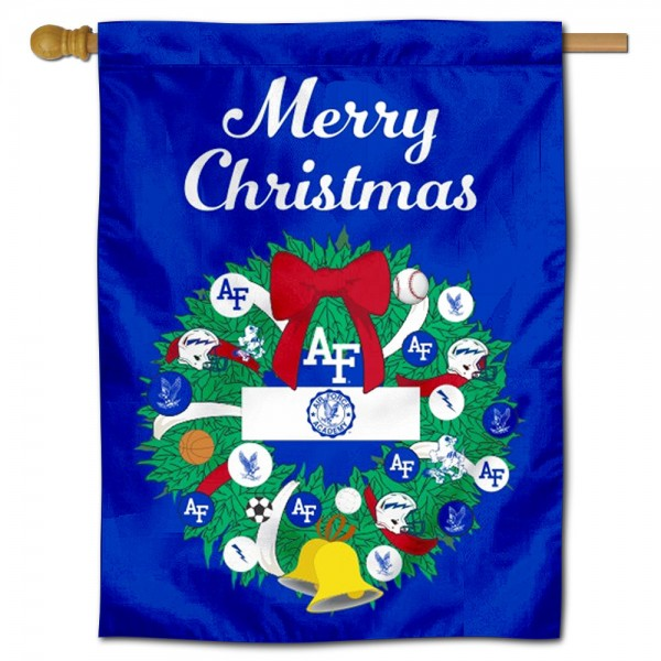 Air Force Falcons Happy Holidays Banner Flag measures 30x40 inches, is made of poly, has a top hanging sleeve, and offers dye sublimated Air Force Falcons logos. This Decorative Air Force Falcons Happy Holidays Banner Flag is officially licensed by the NCAA.