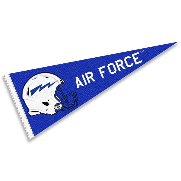 Air Force Falcons Helmet Pennant consists of our full size sports pennant which measures 12x30 inches, is constructed of felt, is single sided imprinted, and offers a pennant sleeve for insertion of a pennant stick, if desired. This Air Force Falcons Pennant Decorations is Officially Licensed by the selected university and the NCAA.