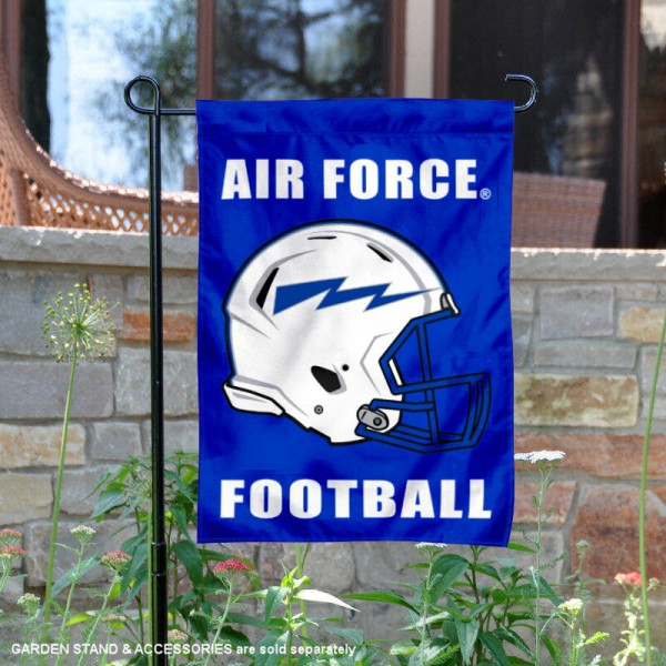 Air Force Falcons Helmet Yard Garden Flag is 13x18 inches in size, is made of 2-layer polyester with Liner, screen printed university athletic logos and lettering, and is readable and viewable correctly on both sides. Available same day shipping, our Air Force Falcons Helmet Yard Garden Flag is officially licensed and approved by the university and the NCAA.