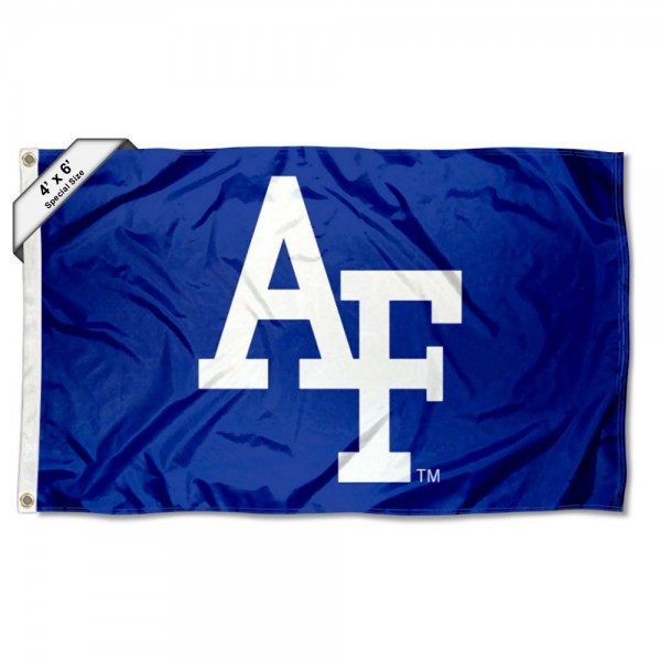 Air Force Falcons Large 4x6 Flag measures 4x6 feet, is made thick woven polyester, has quadruple stitched flyends, two metal grommets, and offers screen printed NCAA Air Force Falcons Large athletic logos and insignias. Our Air Force Falcons Large 4x6 Flag is officially licensed by Air Force Falcons and the NCAA.