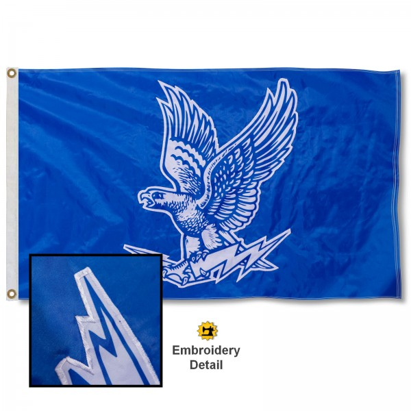 Air Force Falcons Nylon Embroidered Flag measures 3'x5', is made of 100% nylon, has quadruple flyends, two metal grommets, and has double sided appliqued and embroidered University logos. These Air Force Falcons 3x5 Flags are officially licensed by the selected university and the NCAA.