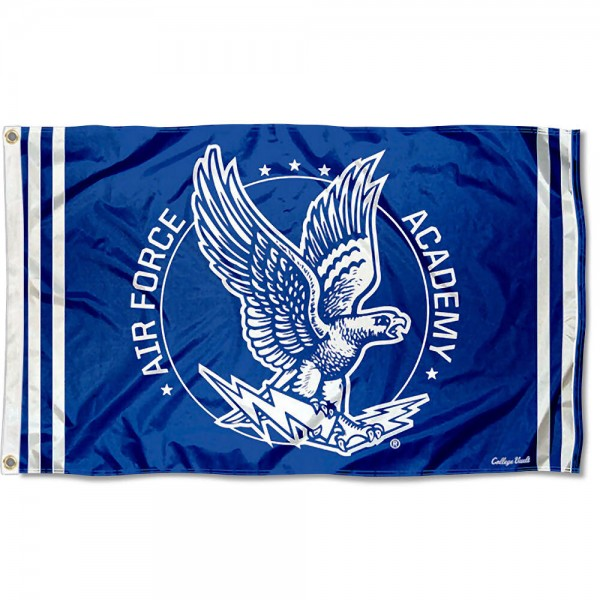 Air Force Falcons Throwback Vault Logo Flag measures 3x5 feet, is made of 100% polyester, offers quadruple stitched flyends, has two metal grommets, and offers screen printed NCAA team logos and insignias. Our Air Force Falcons Throwback Vault Logo Flag is officially licensed by the selected university and NCAA.