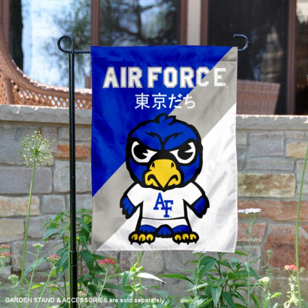 Air Force Falcons Tokyodachi Mascot Yard Flag is 13x18 inches in size, is made of double layer polyester, screen printed university athletic logos and lettering, and is readable and viewable correctly on both sides. Available same day shipping, our Air Force Falcons Tokyodachi Mascot Yard Flag is officially licensed and approved by the university and the NCAA.