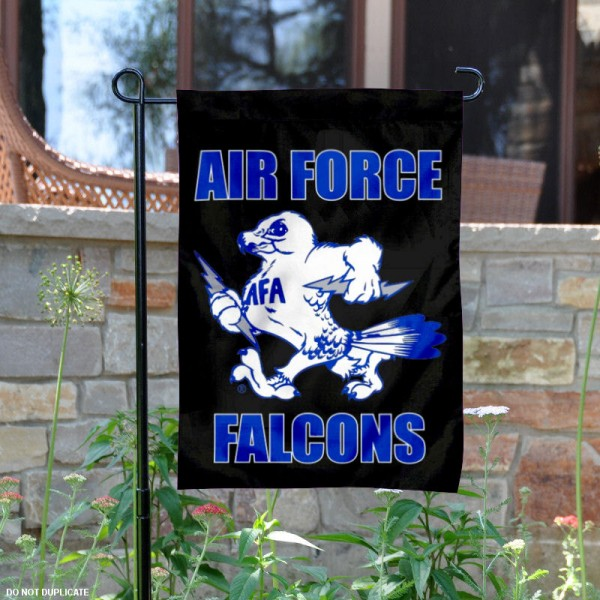 Air Force Falcons Vintage Logo Garden Flag is 13x18 inches in size, is made of 2-layer polyester, screen printed university athletic logos and lettering. Available with Same Day Express Shipping, our Air Force Falcons Vintage Logo Garden Flag is officially licensed and approved by the university and the NCAA.