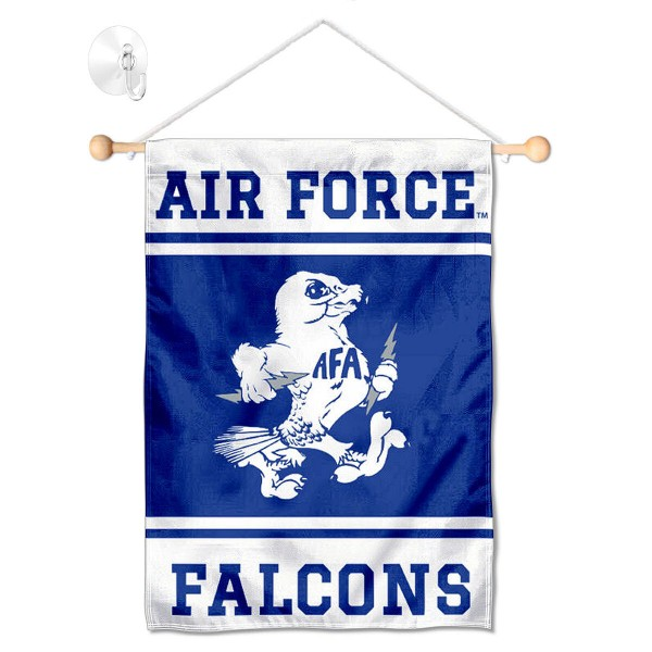 """Air Force Falcons Window and Wall Banner kit includes our 13""""x18"""" garden banner which is made of 2 ply poly with liner and has screen printed licensed logos. Also, a 17"""" wide banner pole with suction cup is included so your Air Force Falcons Window and Wall Banner is ready to be displayed with no tools needed for setup. Fast Overnight Shipping is offered and the flag is Officially Licensed and Approved by the selected team."""