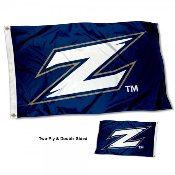 Akron Zips Double Sided Flag measures 3'x5', is made of 2 layer 100% polyester, has quadruple stitched flyends for durability, and is readable correctly on both sides. Our Akron Zips Double Sided Flag is officially licensed by the university, school, and the NCAA.